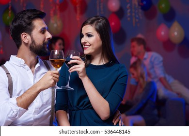 Couple having a toast for new beginning