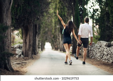 Couple having a walk in nature.Making a company.Stress free,freedom feeling.Happiness and mindfulness.Serene relationship.Soul mates.Best friends hanging out.Deep conversation