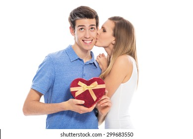 Couple with heart-shaped box