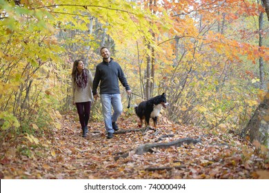 A couple with her Dog in Autumn park. Bernese Mountain Dog