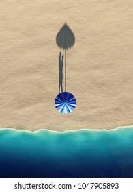 couple hiding under an umbrella on a sea beach, 3d illustration