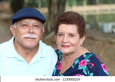 Couple of hispanic pensioners close up