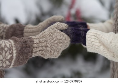 Couple holding each other's hands, the winter goes on the road, enjoying a stroll, a love couple. Husband and wife are going through the park holding hands in the winter.