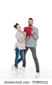 couple holding heart of threads on white, valentines day concept
