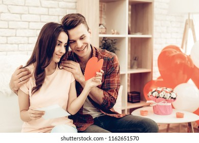 Couple Holding Red Heart Origami. Valentine's Day. Love Each Other. Sweetheart's Romantic Holiday Concept. Young And Handsome. Happy Relationship. Feelings Showing. Celebrating Date.