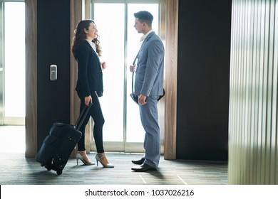 Couple at a hotel lobby hall, hotel