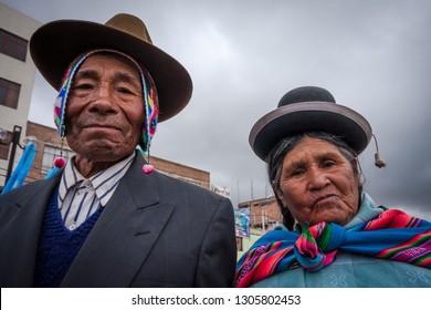 Couple of husbands of Puno. February 12, 2011, Puno - Peru