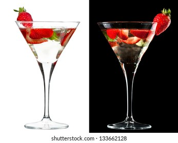 A couple of identical cocktails on the white and black background. Small DOF photo