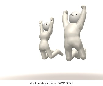 A couple is  jumping . This is a computer generated image.