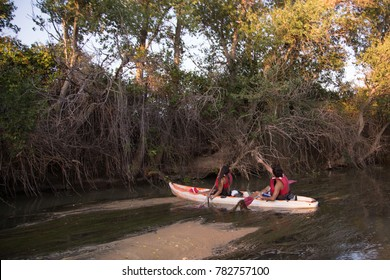 couple kayaking on the river