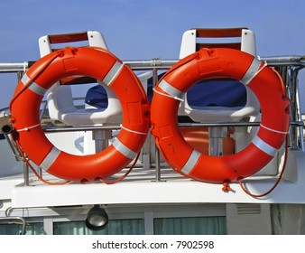 A couple of life rings aboard on a yacht bridge