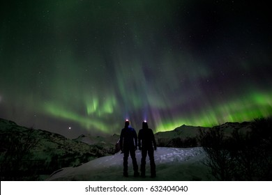 couple looking the northern lights in the wild