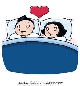 Couple in love in bed illustration