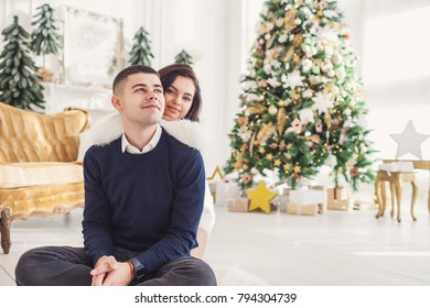 couple in love celebrating Christmas at home