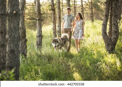 couple in love with a dog, Husky Malamute, sunset forest