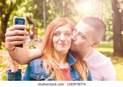couple in love doing a selfie