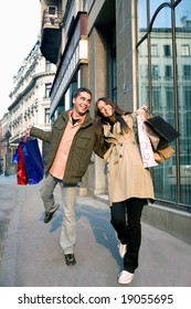couple in love enjoying holiday shopping