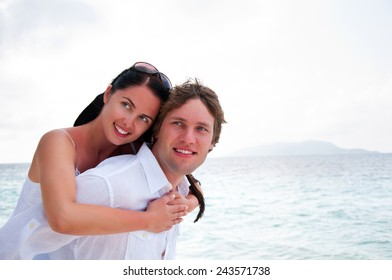 Couple in love enjoying a summer holiday.