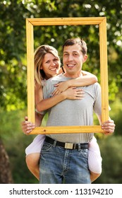 couple in love in a frame on the nature