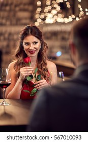 Couple in love have romantic dinner with  rouse