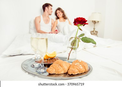 romantic couple Breakfast bed art in