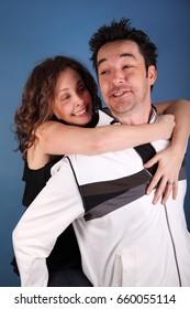 Couple in love hug, goofy.