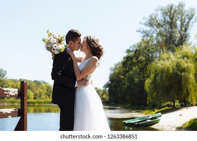 Couple in love looks one on one. The very beautiful wedding of an amazing couple