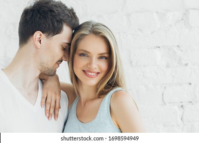 Couple in love man with woman happy together casual happy love people