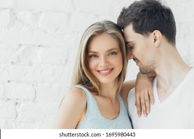 Couple in love man and woman together casual natural portrait happy together