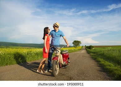 Couple in love with motorbike