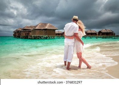 Couple in love on the beach. Maldives