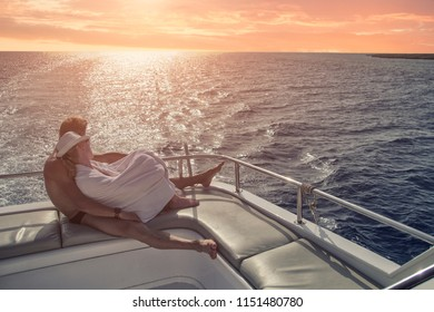 Couple in love on a yacht, romantic atmosphere