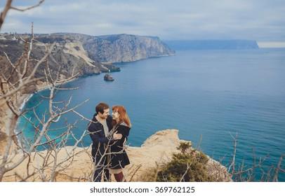 couple in love relaxing, mountain Coast Crimea, Ukraine