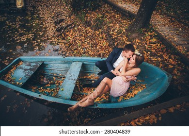 couple in love sitting in a boat