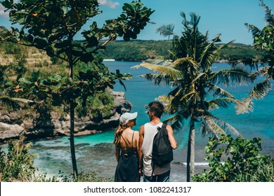 Couple in love, travel backpack, hipster style, outdoor close up portrait, Young beautiful loving couple, a blonde Girl and laughs together with her beautiful Bearded man, Crazy guys, hipsters, Fun