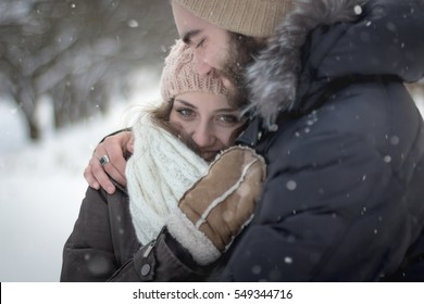 Couple in love at winter park.