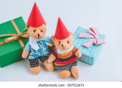 a couple Lovely bear are waiting santa claus with christmas decoration. Christmas party.