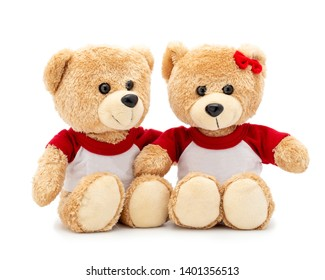 5a615048a7 Couple lovely brown teddy bear with T-shirt and red bow isolated on white  background