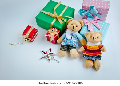 A couple lovely teddy bear and Ornament, Christmas decorate at Merry Christmas and happy new year night light.