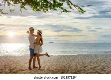 couple lover enjoy anniversary honeymoon celebrate on the sea beach, valentine occasion
