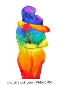 couple lover hugging in rainbow universe abstract free mind, inside your world watercolor painting design illustration, white isolated clipping path