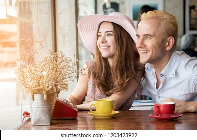 couple lover sitting together feeling in love. Romantic caucasian take a holiday together
