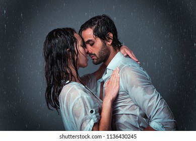 Couple of lovers under the rain