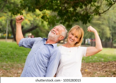 Couple in love.Senior couple relax lifestyle in the park,Elderly couple relaxing in the park.