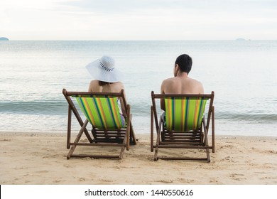 Couple luxury family travel relax on tropical beach in vacation summer
