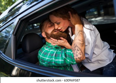 Couple make love in the car.