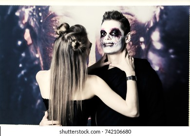 couple makeup halloween woman cat male zombie