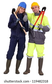 Couple of manual workers