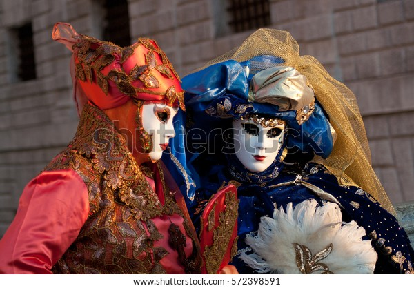 Couple Masks Red Blue Costumes Venice Stock Photo (Edit Now