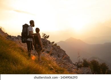 couple mountain sunset nature light